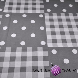 Cotton white & gray patchwork