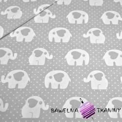 Bawełna słoniki z kropeczkami na szarym tle