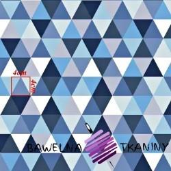 Bawełna trójkąty biało niebieskie