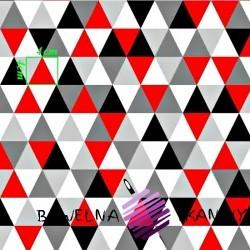Bawełna trójkąty czerwono szare