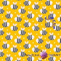 Bawełna Pszczółki na żółtym tle