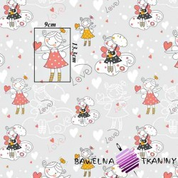 Cotton girls angels on gray background