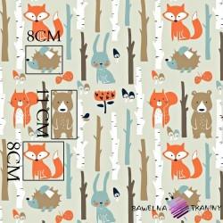 Bawełna zwierzęta w lesie na beżowym tle