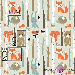 Cotton animals in forest on gray & mint background
