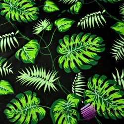 Bawełna kwiaty zielone na czarnym tle