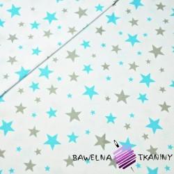 Bawełna gwiazdki nowe małe i duże turkusowo szare na białym tle
