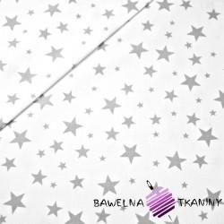Bawełna gwiazdki pełne małe i duże szare białym tle