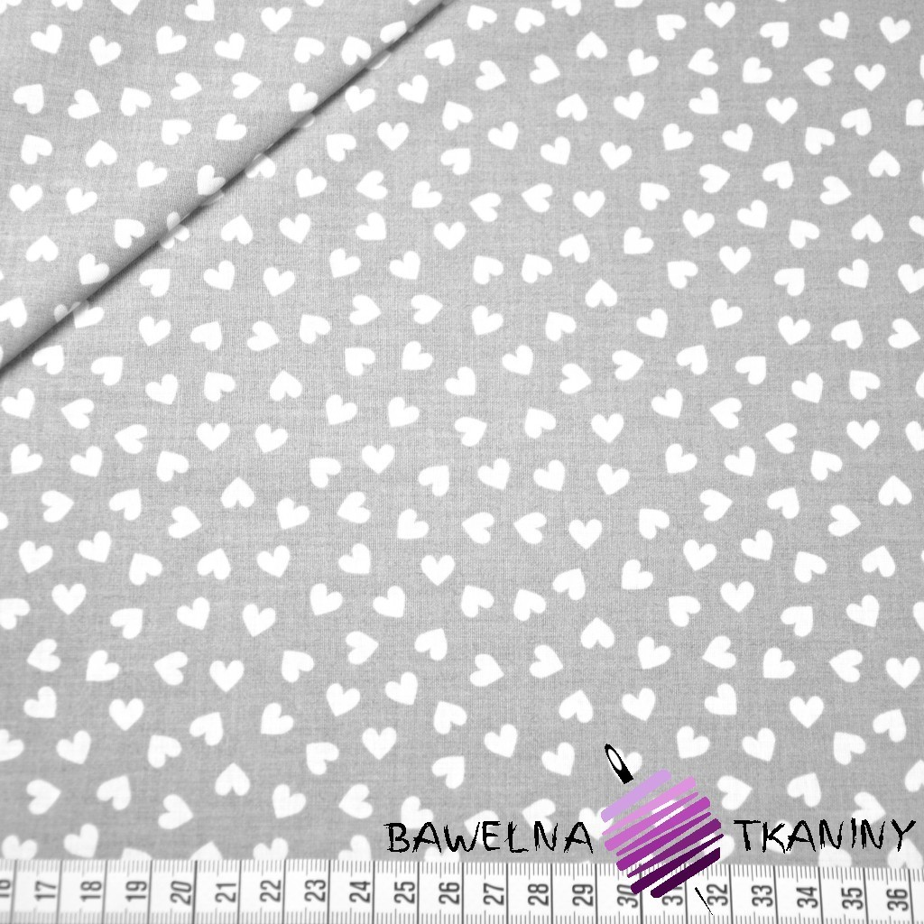 Bawełna serduszka MINI białe na szarym tle