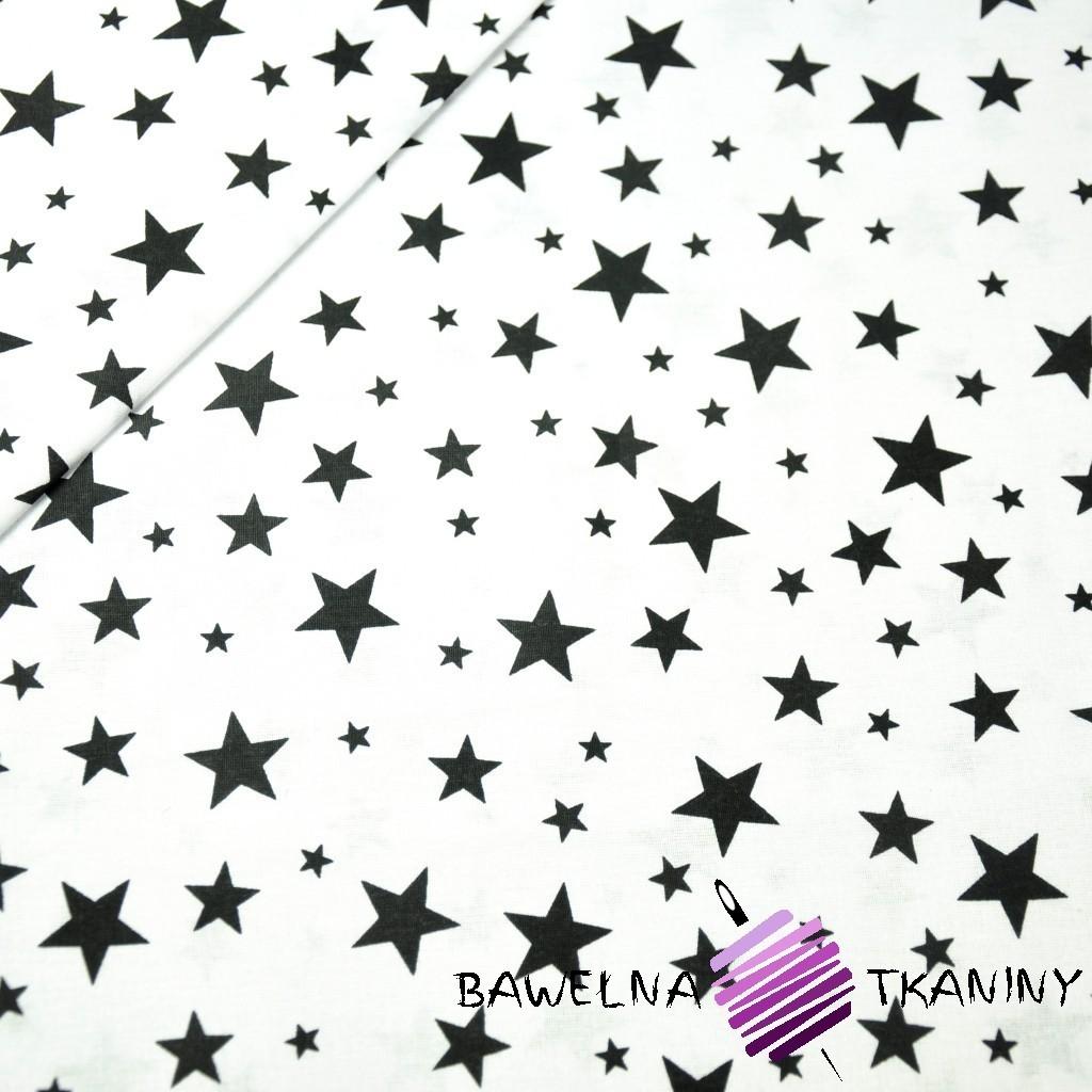 Bawełna gwiazdki pełne małe i duże czarne na białym tle