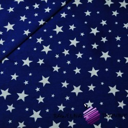 Cotton stars full of small and large white on navy background