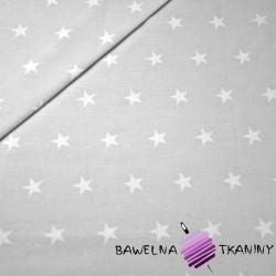 Bawełna Gwiazdki 20mm Białe na szarym tle