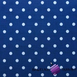 Cotton white dots on navy blue background