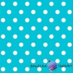 Cotton white spots on turquoise background