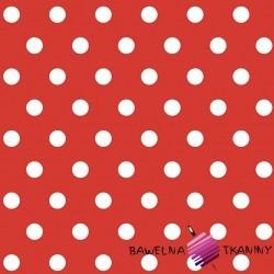 Bawełna grochy białe na czerwonym tle