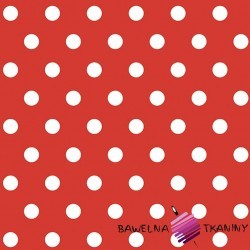 Cotton white spots on red background