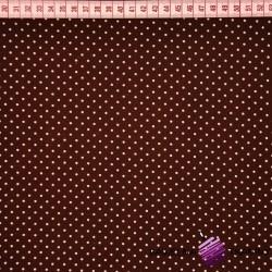 Bawełna kropki białe na brązowym tle