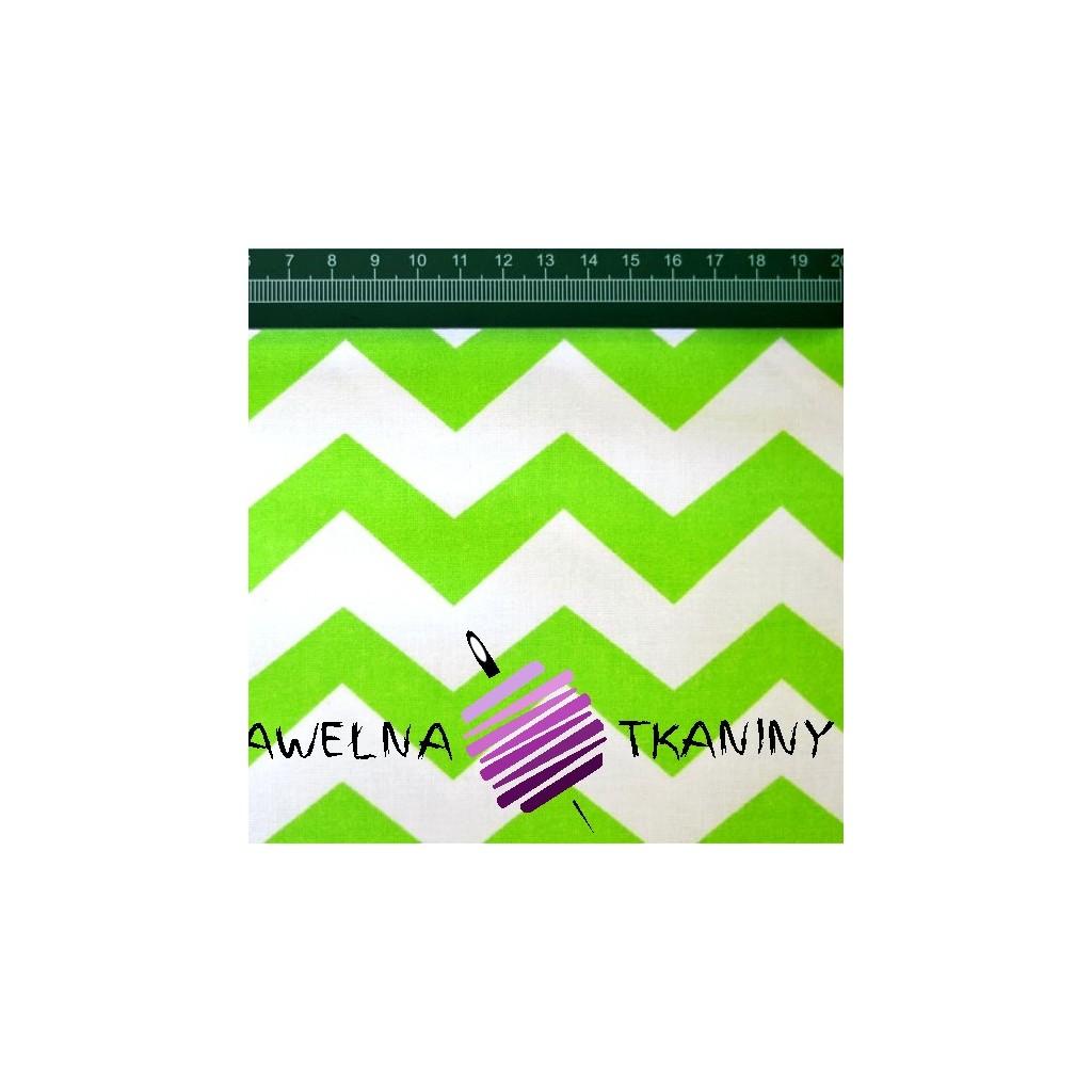 Cotton white-green zigzag