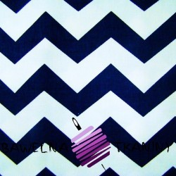 Cotton white-navy blue zigzag