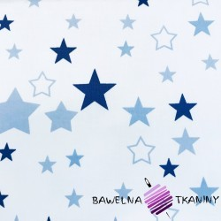 Cotton pink & navy blue stars on white background