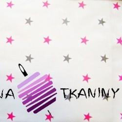 Bawełna gwiazdki 12mm szaro/różowe na białym tle