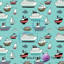 Cotton ships on a teal background