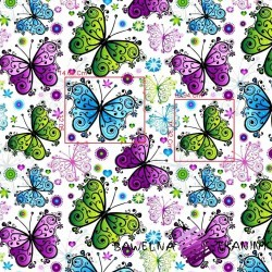 Cotton purple, blue & green butterflies on white background