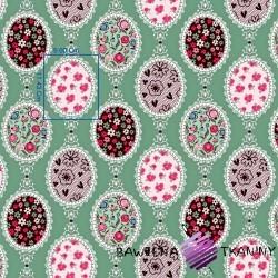 Bawełna Pisanki z kwiatami na ciemno zielonym tle