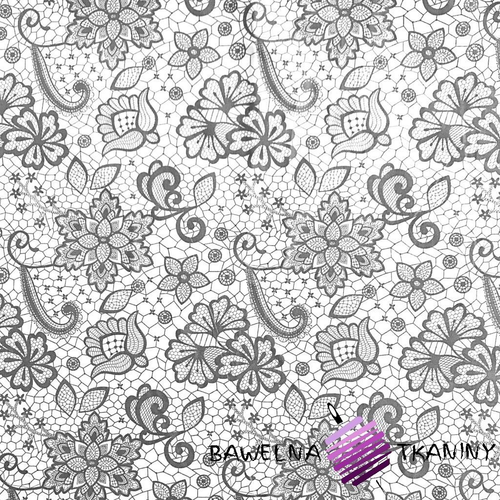 Bawełna koronka szara na białym tle