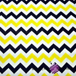 Cotton black & yellow zigzag on white background