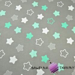 Bawełna gwiazdki piernikowe biało miętowe na szarym tle