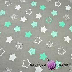Cotton white & mint gingerbread stars on gray background