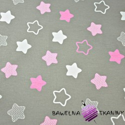 Cotton white & pink gingerbread stars on gray background