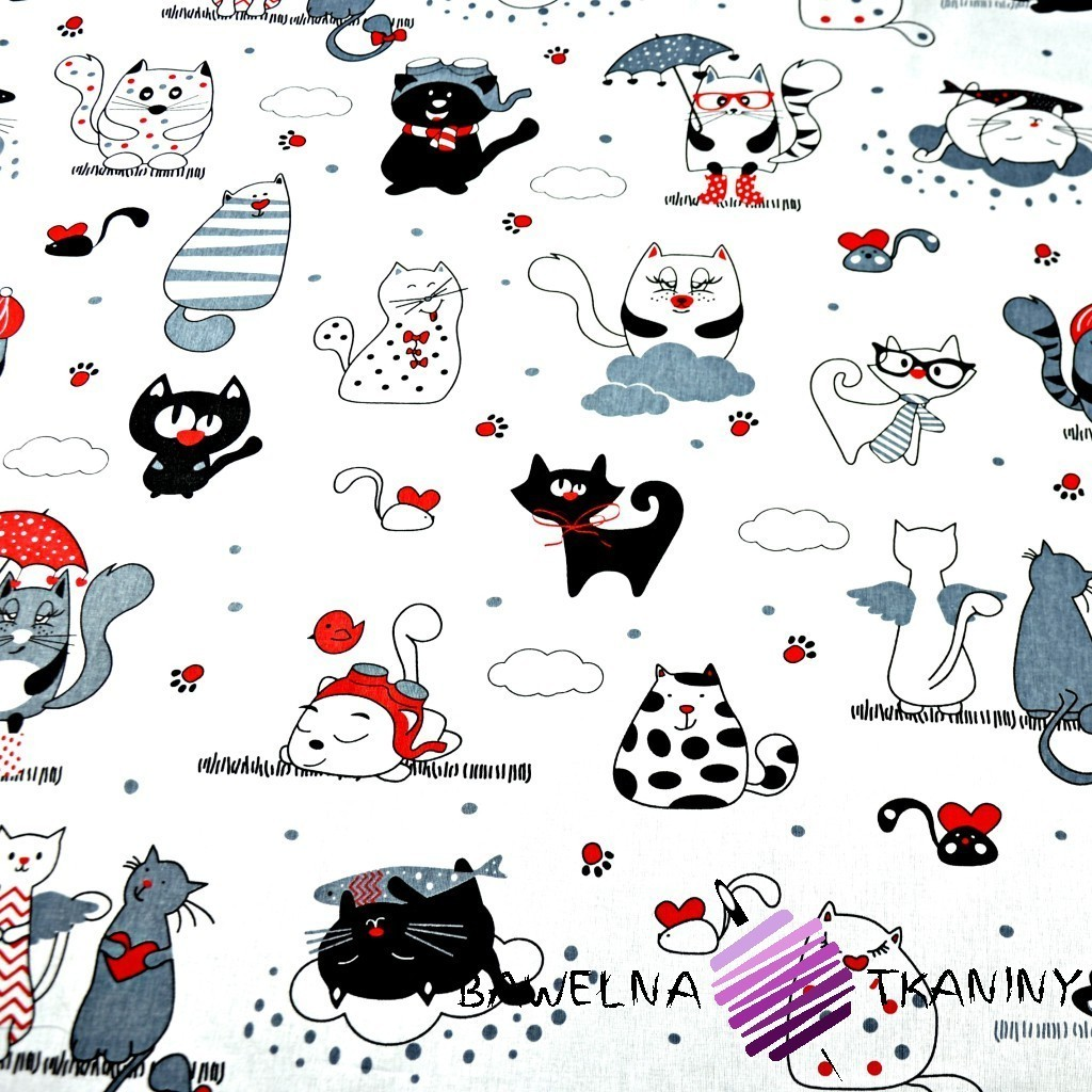 Bawełna kotki szalonew w pasach z czerwonym na białym tle
