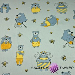Cotton gray & yellow bears on gray background