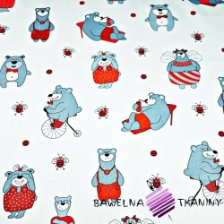Cotton gray & red bears on white background