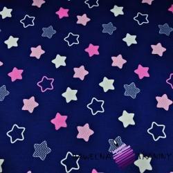Bawełna gwiazdki piernikowe biało różowe na granatowym tle