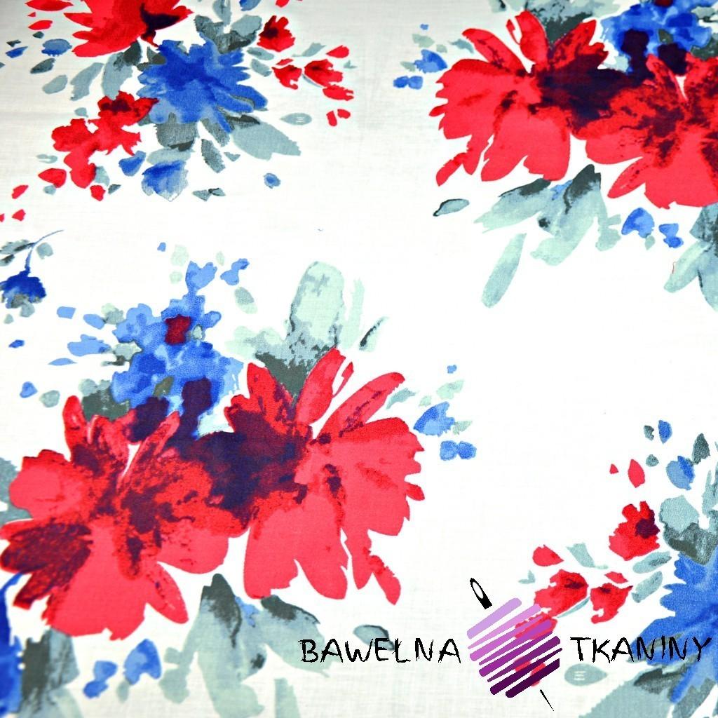 Bawełna kwiaty malowane niebiesko czerwone - 220 cm