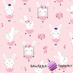 Cotton rabbits on pink background