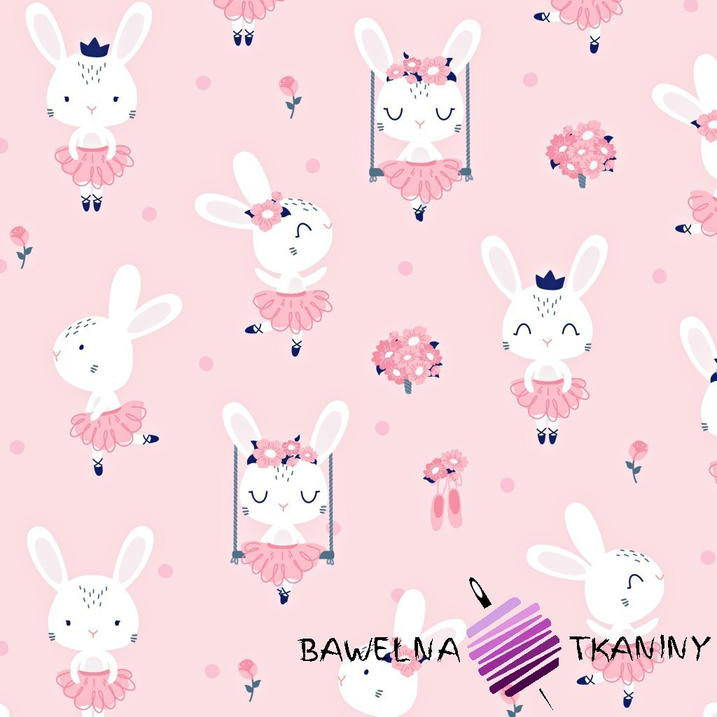 Bawełna króliki na huśtawkach na różowym tle