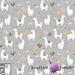 Cotton alpacas on gray background