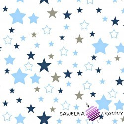 Cotton blue & navy blue, gray stars on white background