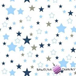 Cotton blue & navy blue, gray stars on white background