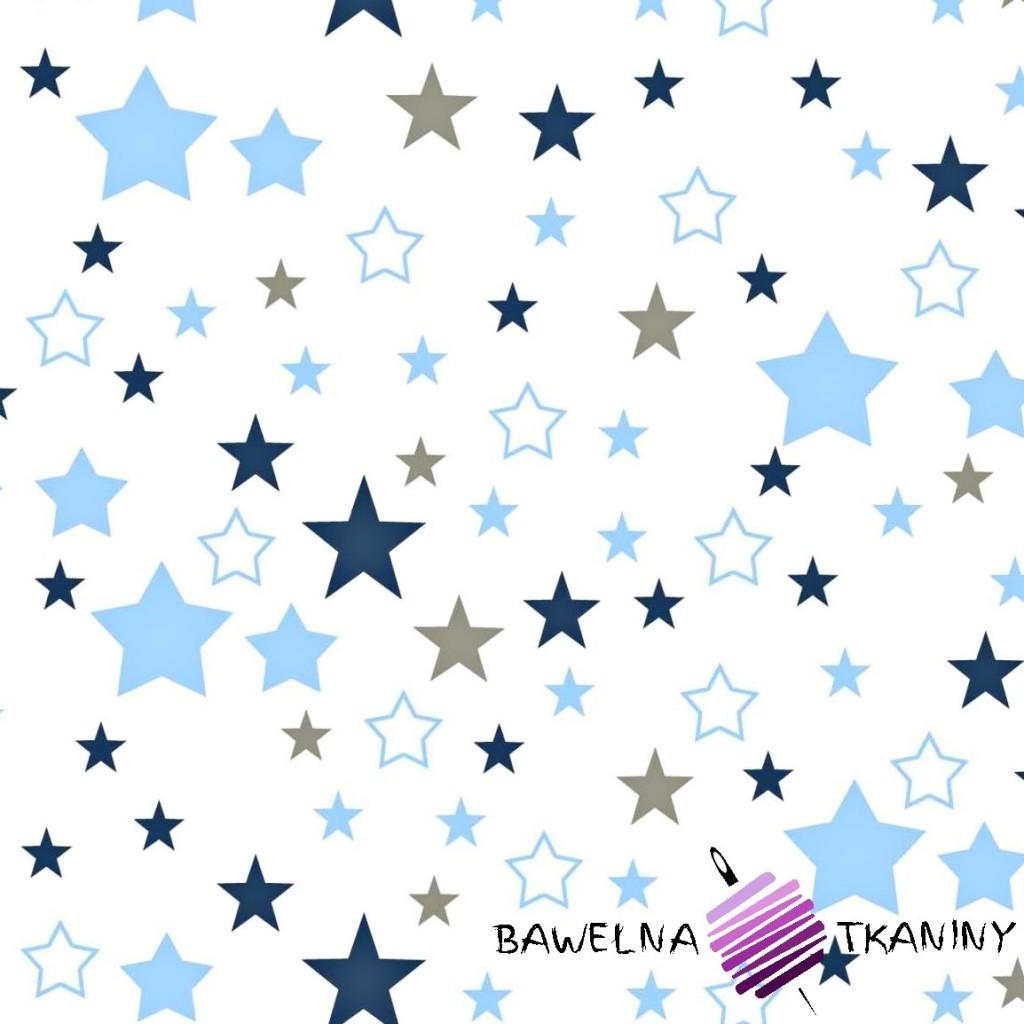 Bawełna gwiazdozbiór niebiesko granatowo szary na białym tle