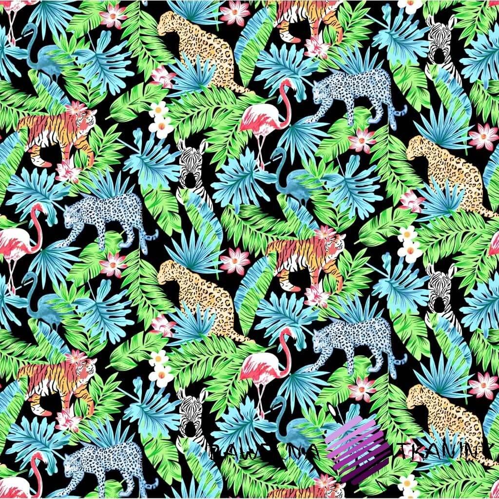 Bawełna dżungla zielono niebieska na czarnym tle
