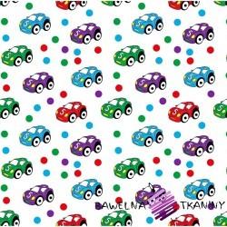 Bawełna samochody kolorowe z kropeczkami na białym tle.