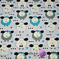 Bawełna owieczki niebiesko białe na szarym tle
