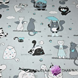 Cotton crazy cats with turquoise additives on gray backgrounds