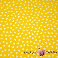 Cotton MINI white hearts on yellow background