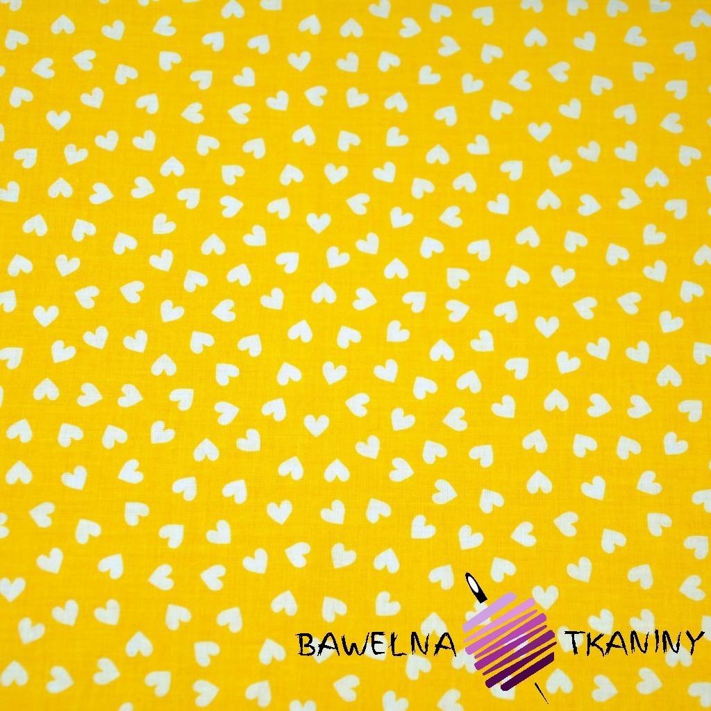 Bawełna serduszka MINI białe na żółtym tle