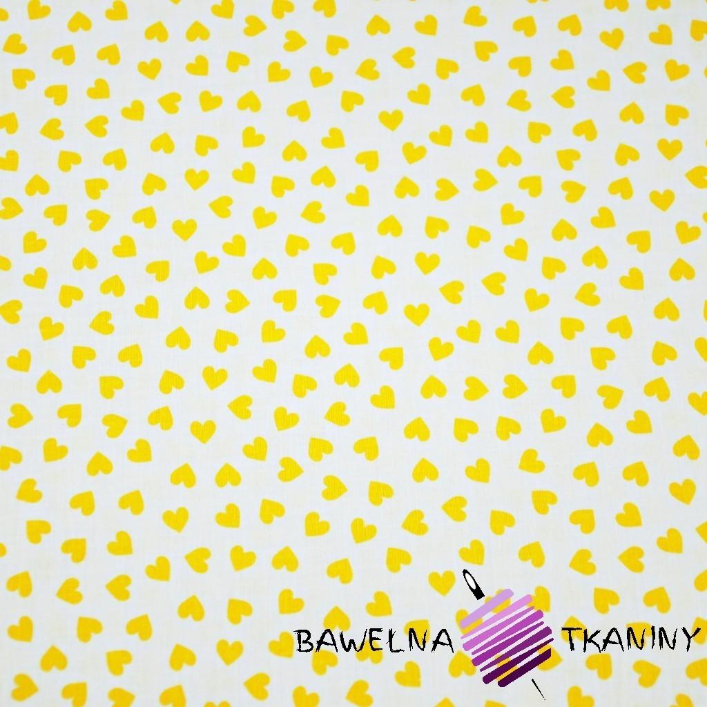 Bawełna serduszka MINI żółte na białym tle